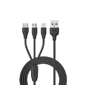 کابل USB به microUSB و لایتنینگ و USB-C ریمکس RC-109th_ ا متری